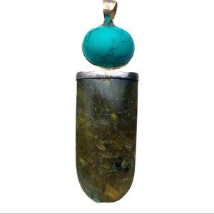 Green laboradorite and turquoise howlite pendant